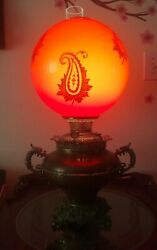 Exceptional Bandh Aesthetic Dragon/ Griffin Banquet Lamp And Rare Huge Red Shade