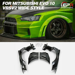For Mitsubishi Evo 10 X Vrs Ver2 Wide Style Frp Front Fender Flares 4pcs Addon
