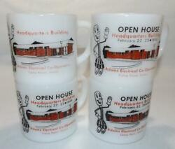 4 Rare 1969 Vintage Federal Milk Glass Willie Wirehand Coffee Mugs Electric