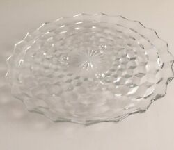 """Vintage Fostoria American Cubist Glass Clear 12"""" Three Footed Cake Plate Platter"""