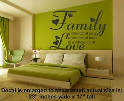 Family Wall Art 23 x 17quot; Decal Sticker Saying Quote lettering home decor love