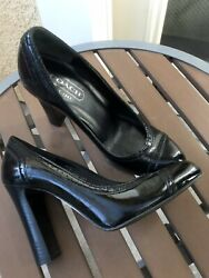 $228 Women Designer Coach shoes in size 5 Leather Black Heels LOT #2 $45.50
