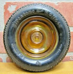 Firestone Balloon Tire Old Advertising Ashtray Tray Sign Amber Glass Hubcap