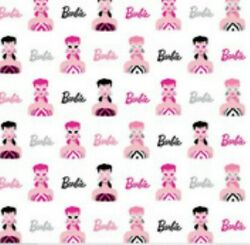 Barbie Fabric Bty Yard 1950s Look Head Main White Cotton Fabric By Riley Blake