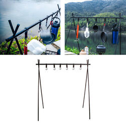 Outdoor Camping Hanging Rack Aluminum Alloy Grill Tripod Shelf Stand And 6 Hooks