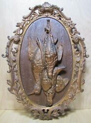 Antique Three Dead Birds Cast Iron Game Plaque Hunting Lodge Butcher Shop Sign