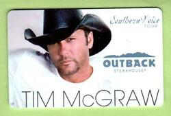 Outback Steakhouse Tim Mcgraw Southern Voice Tour 2010 Gift Card 0