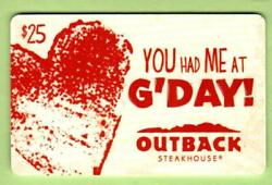 Outback Steakhouse You Had Me At G'day 2012 Gift Card 0