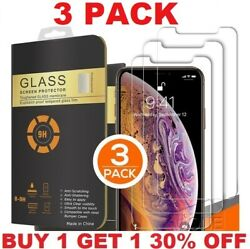 3 Pack For Iphone 13 12 11 Pro Max Xr Xs 8 Plus Tempered Glass Screen Protector