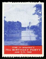 Canada Poster Stamp - 1949 Winnipegand039s 75th Birthday Party - Single Stamp