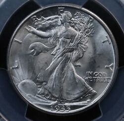 1935 D Walking Liberty Half Dollar Pcgs Ms 65 Lustrous Smooth White Well Struck