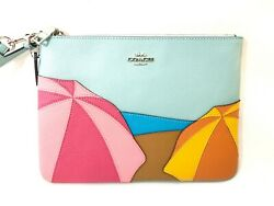 Coach Gallery Large Pouch 9x7 With Umbrella Pattern Leather Nwt 198