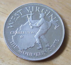 West Virginia Sterling Silver Medal Round Coal Miner 35th State Charleston