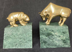 Brass Bear And Bull Bookends On Marble
