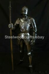 Hammered Steel Medieval Knight Gothic Full Suit Of Armor Hmb/sca Armor