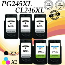 4x Pg245xl+2x Cl246xl Black Color Ink For Canon Pixma Mg2920 Mg2922 Mg2924 Mx492