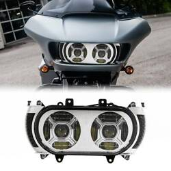 Dual Headlight Projector Turn Signal Side Light Fit For Harley Road Glide 15-19