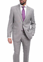 Napoli Classic Fit Light Gray Glen Plaid Half Canvassed Super 150s Wool Suit