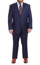 Lazetti Couture Menand039s Portly Fit Solid Navy Blue Two Button 100 Wool Suit