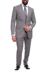 Napoli Slim Fit Gray And Subtle Brown Glen Plaid Half Canvassed Cashmere Wool Suit