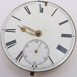 Antique English Fusee Pocket Watch Movement With Dust Cover Diamond Jewel. Pwm15