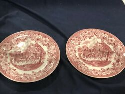 Pair Of Shenango China Roselyn Pattern Pink 9 1/4 In Grill Plates