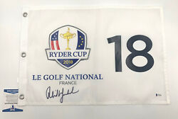 Phil Mickelson Pga Signed Ryder Cup Flag Autograph Beckett Bas Coa