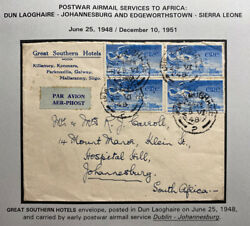 1948 Dun Laoghaire Ireland Hotel Airmail Cover To Johannesburg South Africa
