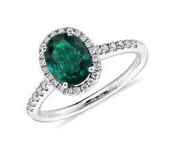 Natural Zambian Emerald With Diamond Halo Oval Cut 2.40 Cts 18k White Gold Ring