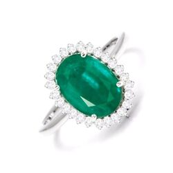 Natural Zambian Emerald With Diamond Halo 3.80 Cts Oval Cut 18k White Gold Ring