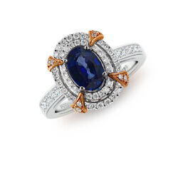 Blue Sapphire And Diamond Natural Genuine Royal Blue Cyclone 14k White Gold