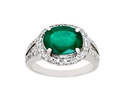 3.51 Cts Natural Zambia Emerald And Diamond Oval Cut 14 K White Gold Ring
