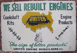 United Engine Rebuilders Old Sign Crankshaft Kits Eng Prod Gas Oil Auto Truck Ad