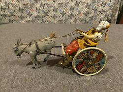 Antique Lehmann Balky Mule Donkey Clown Cart German Tin Lithograph Wind-up Toy