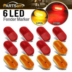 12x Red/amber Car Trailer Light Lamp 6led 2x4 Surface Mount Clearance Marker