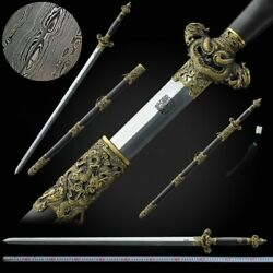 Nine Dragon Sword Hand Forged Pattern Steel Blade Sharp Pure Copper Fittings097