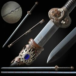 Dragon Soul Sword Hand Forged Pattern Steel Blade Sharp Pure Copper Fittings098