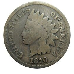 Indian Head Cent/penny 1870 Snow-8 Digits In The Denticles Variety R7