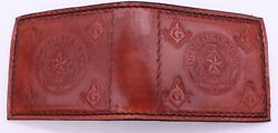 Masonic And State Of Texas Seal Handcrafted Leather Wallet Billfold Brown Mason
