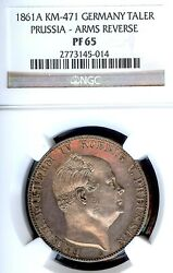 German States Prussia 1861a Death Taler Coin Thaler Ngc Pf 65 Proof Unc Pp Rare