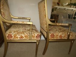 Pair Of French Louis Xvi Style Antique Arm Chairs 20thcentury