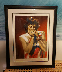 Rolling Stones/ronnie Wood - Mick On Harmonica I - Framed/signed Art - 36 Of 190
