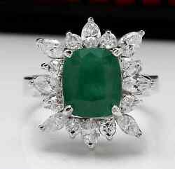 4.56ct Natural Emerald And Diamond 14k Solid White Gold Ring