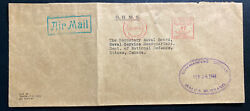 1944 Navy Post Office Canada Ohms Airmail Cover To Dept National Defense Ottawa