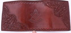 Masonic Handcrafted Brown Leather Wallet Tri-fold Hand Tooled Free Mason New