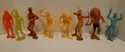 Vintage 8 Figure Lot - 5 1964 Louis Marx Western Cowboy And Indians / 3 Unmarked