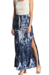 Young Fabulous And Broke Yfb Sylvie Side Slit Tie Dye Midnight Blue Skirt Sz S Nwt
