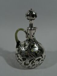 Gorham Decanter - S1490 - Art Nouveau - American Green Glass And Silver Overlay