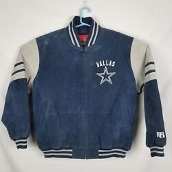 Nfl Dallas Cowboys Suede Leather Jacket Xxl Embroidered Sewn On Star Spell Out
