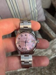 Ladies Rolex Oyster Perpetual Date Watch 1500 Stainless Steel 26mm Ice Pink